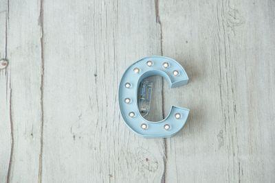 Letra luminosa de cartón de 20 cm Azul Bebé - Acabado Natural - BCN LETTERS
