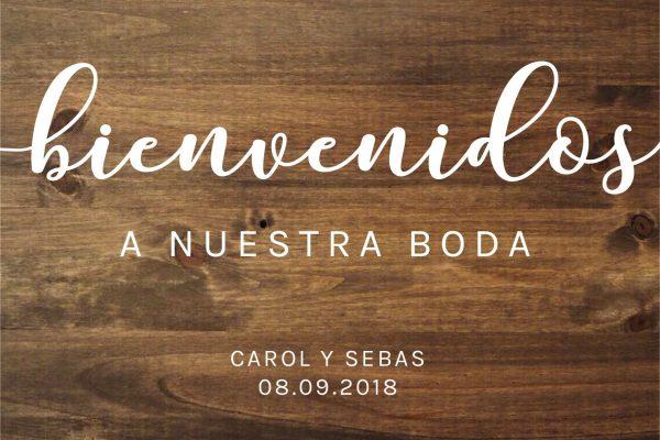 Cartel de madera bienvenidos a nuestra boda personalizado de BCN LETTERS