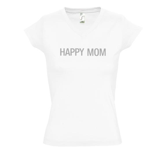 Camiseta HAPPY MOM para mamás - Cuello pico