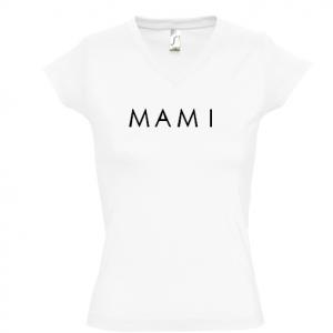 Camiseta MAMI para mamás - Cuello pico