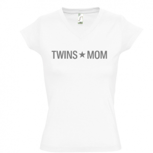Camiseta TWINS MOM para mamás de gemelos y mellizos - Cuello pico