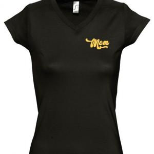 Camiseta mama Mom - Negro y dorado