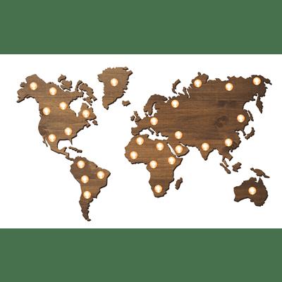 Mapa del mundo de madera luminoso con bombillas 3D- BCN LETTERS
