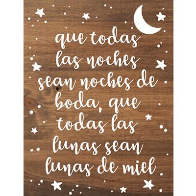 Cartel Noches de Boda Y Lunas de Miel de madera decoración personalizada - BCN LETTERS
