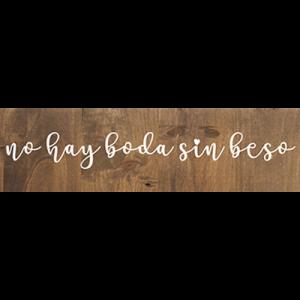 Cartel no sin beso para bodas de madera - BCN LETTERS