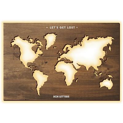Mapa del mundo de madera recortado con luz indirecta- BCN LETTERS