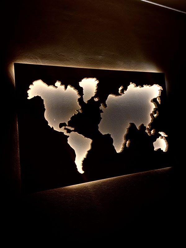 Mapa del mundo de madera luminoso - BCN LETTERS