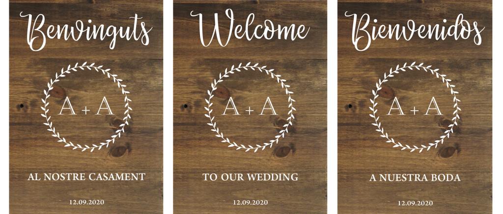 Cartel de madera para bodas - Corona Laurel BCN LETTERS