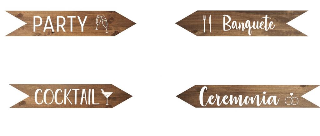 Carteles y flechas de madera personalizadas - bodas, cumpleaños y eventos BARCELONA