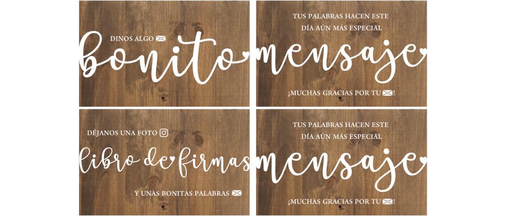 Carteles mesa firmas selfie instagram mensaje de madera - BCN LETTERS