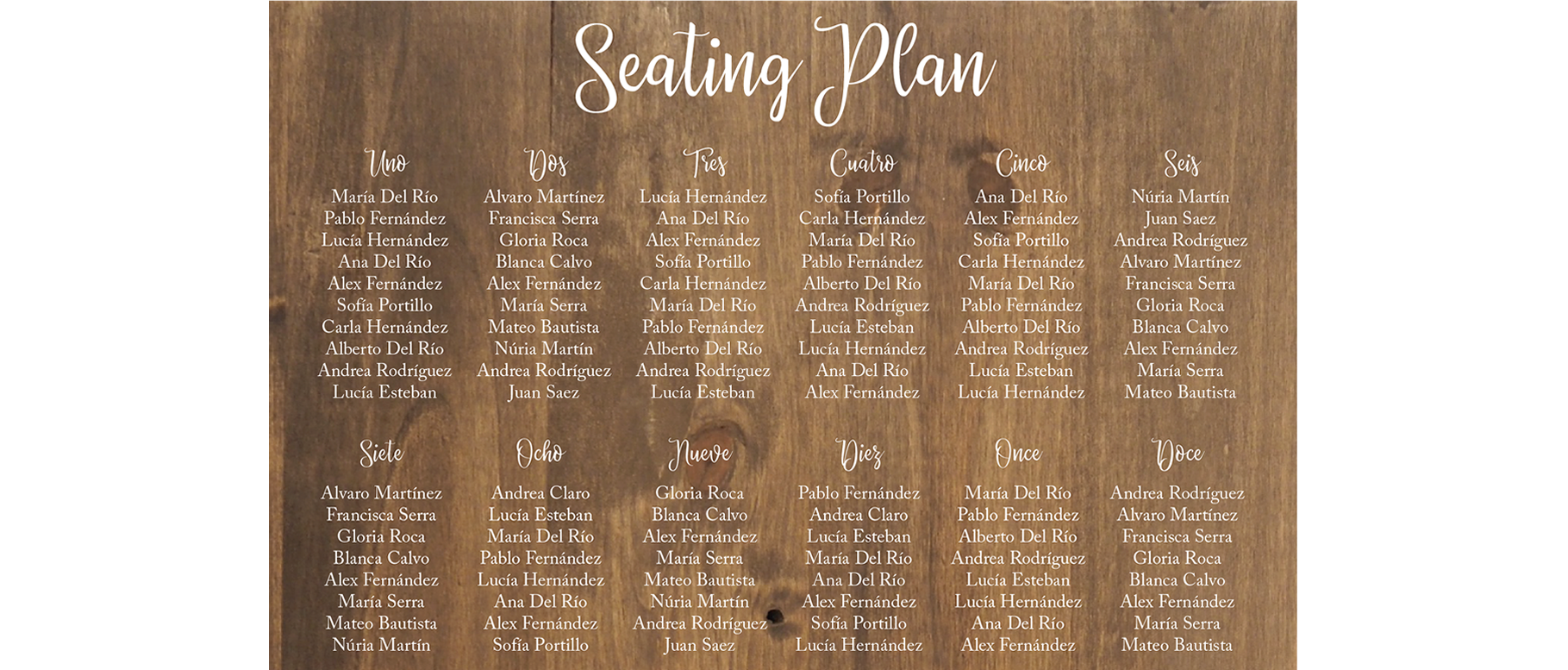 Wooden Seating Plan Barcelona - BCN LETTERS
