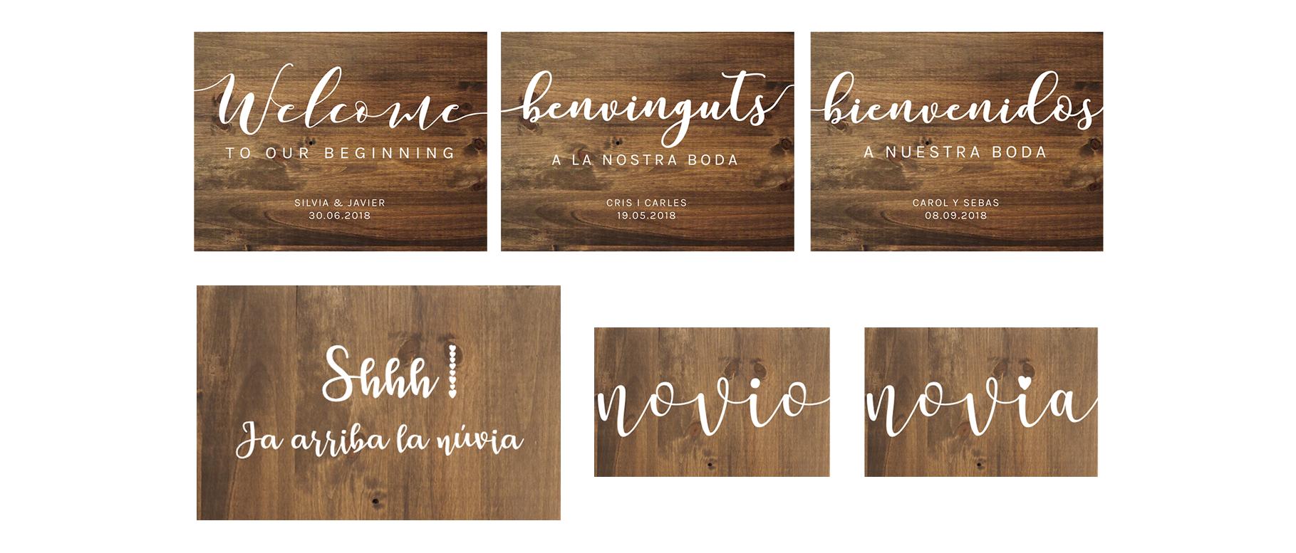 Pack carteles personalizados de madera para bodas básico - BCN LETTERS