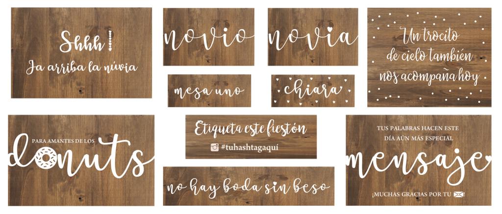 Packs de carteles de madera para bodas, cumpleaños y eventos personalizados - BARCELONA BCNLETTERS