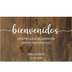 Cartel de madera personalizado Bienvenidos Gracias por acompañarnos - BCN LETTERS
