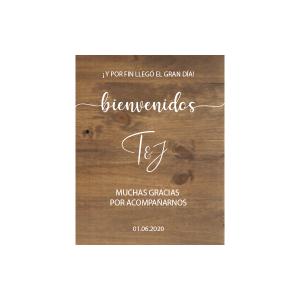 Cartel de madera personalizado Bienvenidos Gracias por acompañarnos el Gran Día - BCN LETTERS