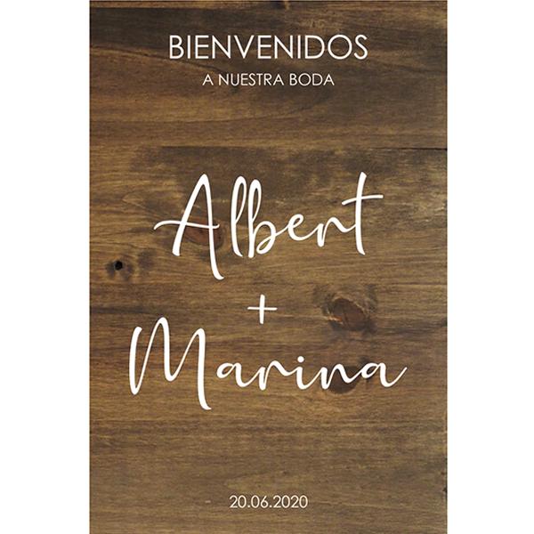 Cartel Bienvenidos boda de Madera Minimal - BCN LETTERS
