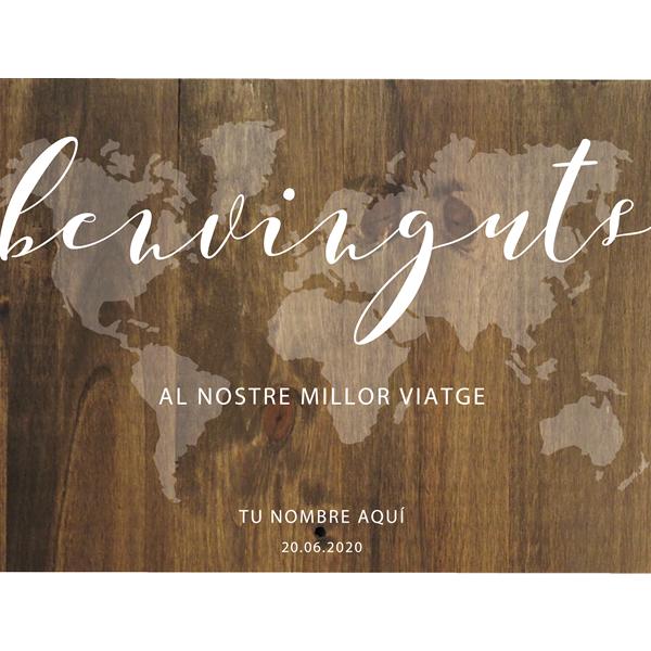 Cartel de madera personalizado Mapa Mundo Benvinguts Casament- BCN LETTERS