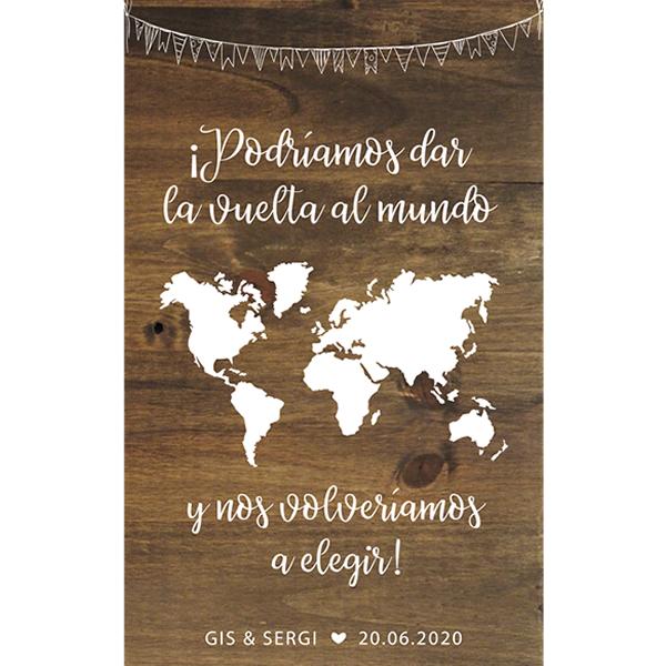 Cartel banderolas vuelta al mundo boda - BCN LETTERS