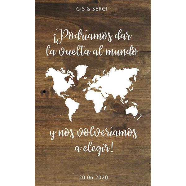 Cartel de madera vuelta al mundo boda - BCN LETTERS