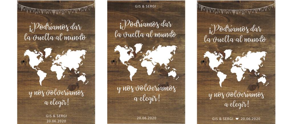 Cartel de madera personalizado para bodas BIENVENIDOS VUELTA MUNDO- BCN LETTERS