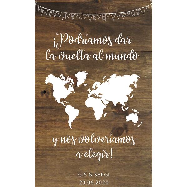 Cartel de madera bienvenida vuelta al mundo boda - BCN LETTERS