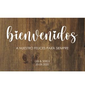Cartel de madera personalizado Bienvenidos Felices Siempre - BCN LETTERS