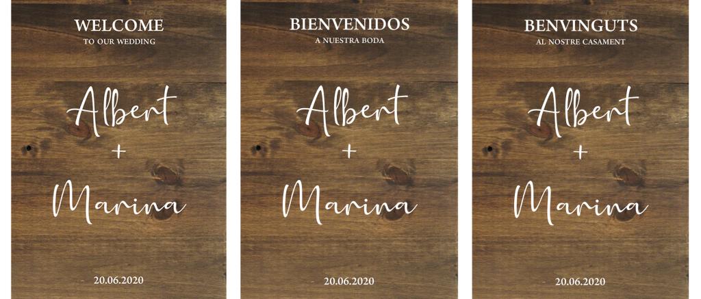 Cartel de madera personalizado para bodas BIENVENIDOS MINIMAL- BCN LETTERS