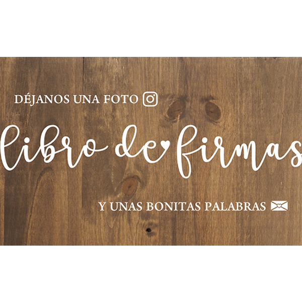 Cartel de madera LIBRO DE FIRMAS para Bodas y Eventos Barcelona Polaroid - BCN LETTERS