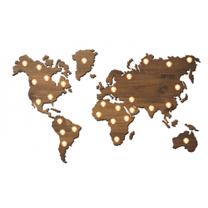 Mapa de madera luminoso 3D bombillas Vintage - BCN- LETTERS