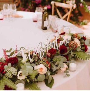 Nombres de madera personalizados novios boda eventos mesa presidencial Barcelona BCN LETTERS
